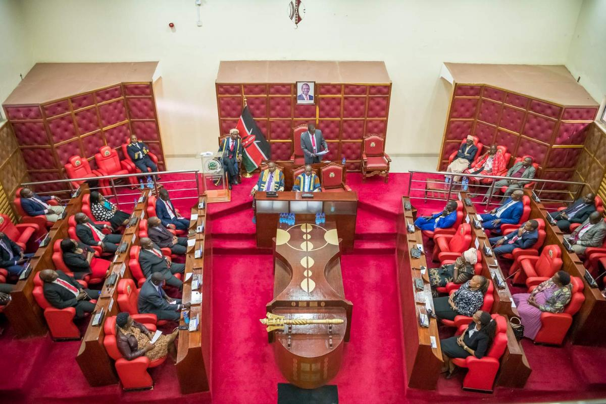 Governor reading his speech on the occasion of the official opening of the fourth session of the second assembly of the county assembly of Laikipia on