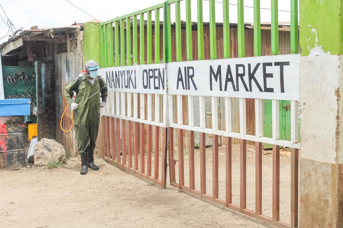 Fumigation of Nanyuki Old Market by our public health officers in conjunction with law enforcement officers