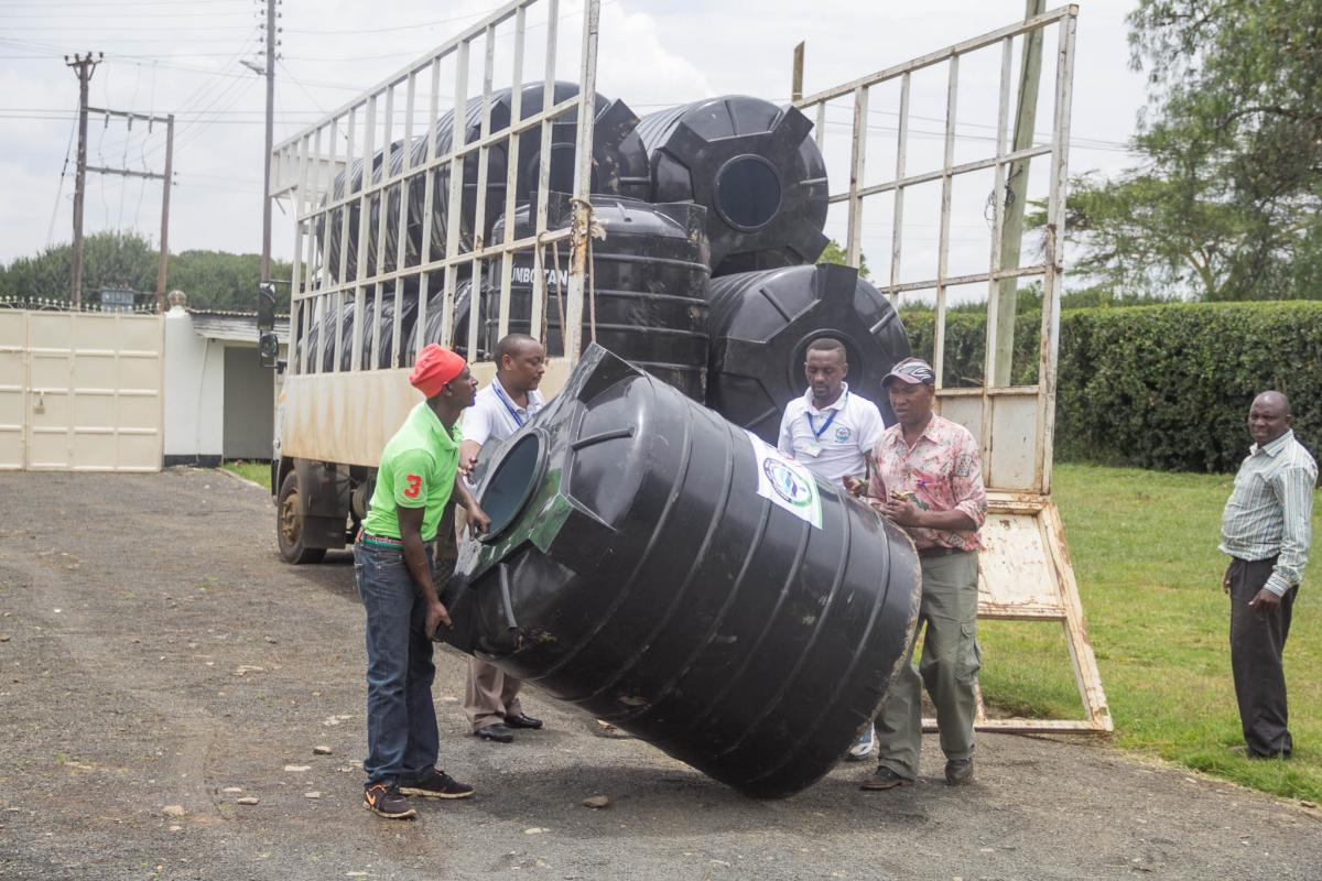 The Central Rift Valley Water Works Development Agency presents tanks to Laikipia County in support of a hand-washing campaign supporting water compan