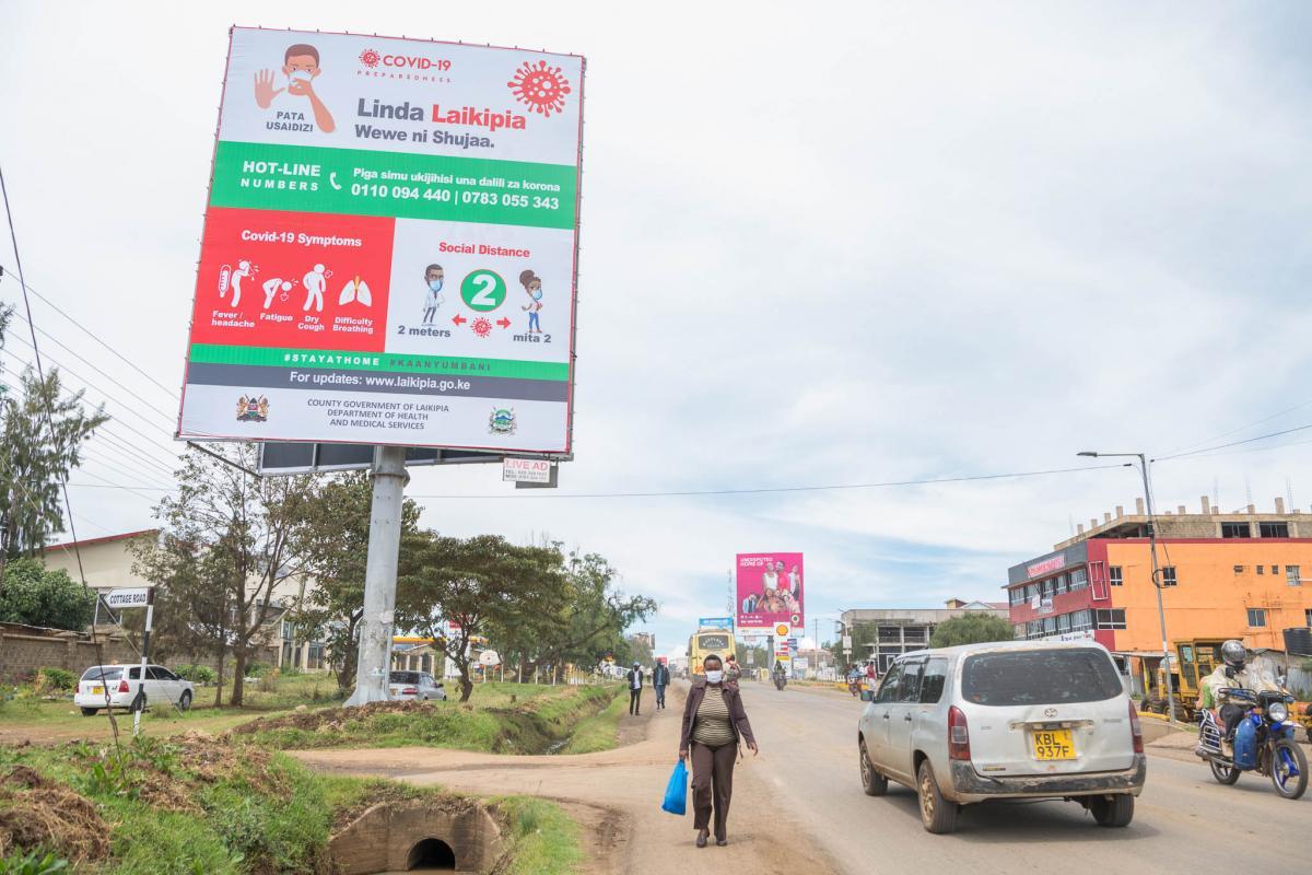 COVID-19 Preparedness and Awareness Billboards at the entry of Nanyuki and Nyahururu towns.