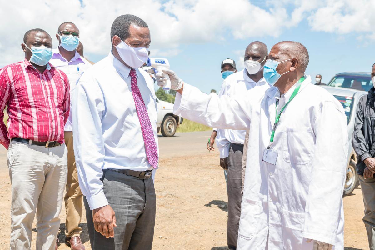 Hon.Ndiritu Muriithi being screened at nyahururu subukia road screening point
