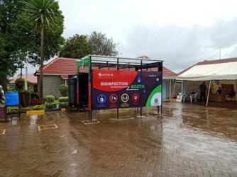 Newly installed sanitization booth at Nyahururu County Hospital