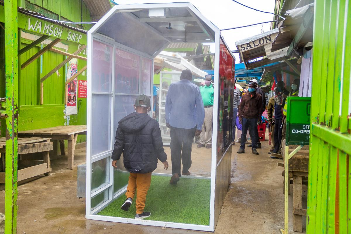 Shoppers at Nanyuki New Market will have to pass through a disinfection booth at the entrance