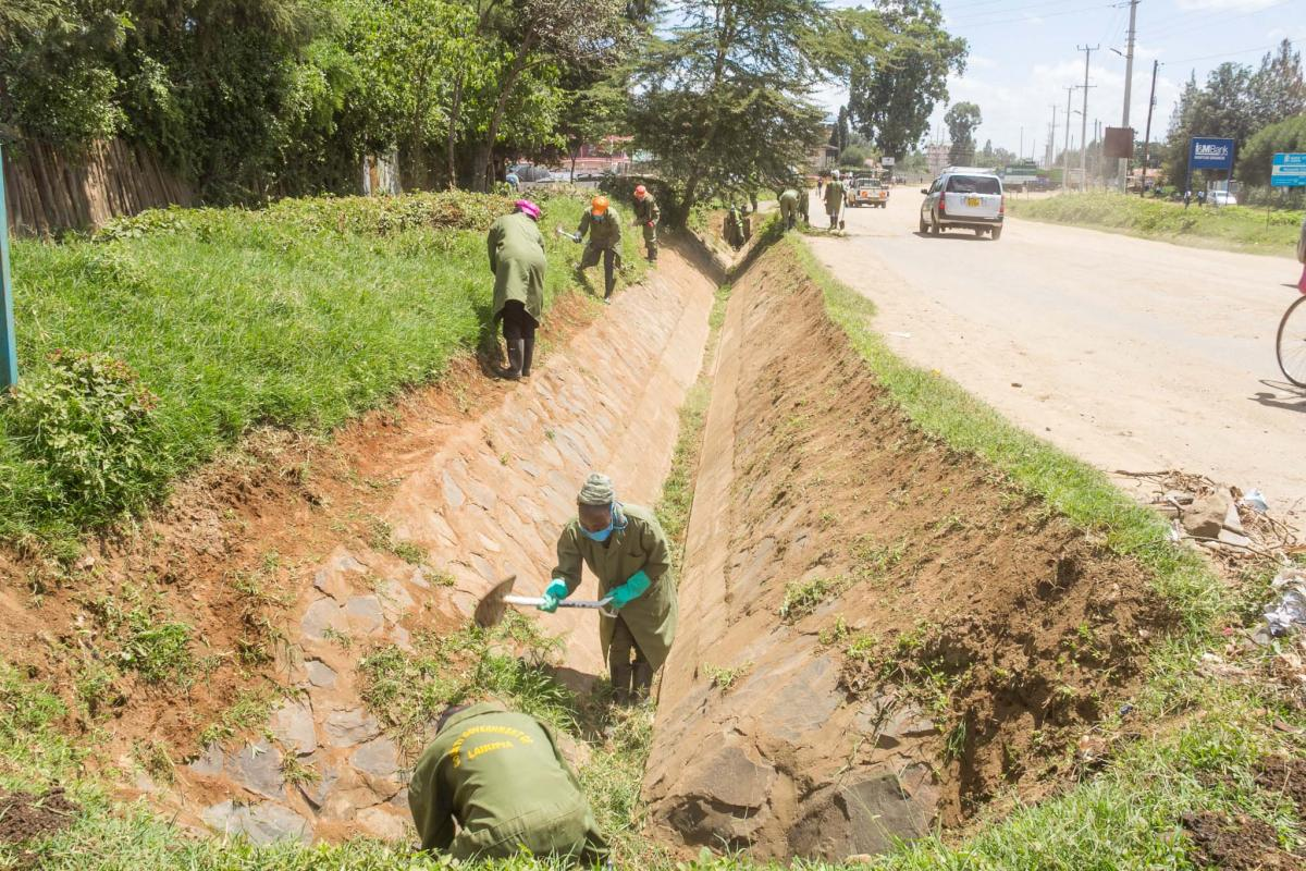 Laikipia County Government Environment team keeping our urban centres clean.
