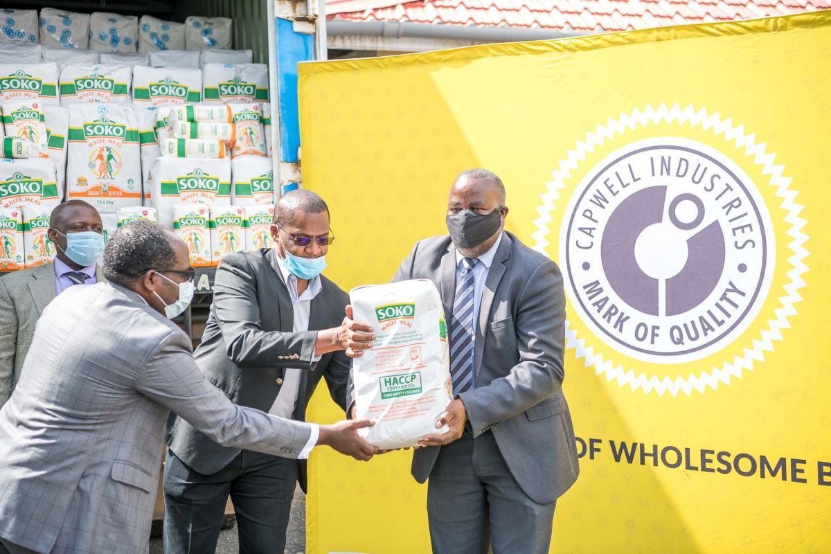 Capwell Industries donates 600 bales of Soko Maize Flour to the Lisha Jamii Initiative.